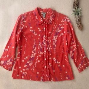 Anthro Odille Floral Button Down Top sz 8